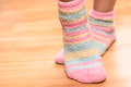 Feet in soft socks close up of colorful Stock Photography