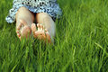 Feet of woman in green grass Royalty Free Stock Photography
