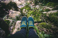 Feet Woman running shoes relaxing in forest Travel Royalty Free Stock Photo