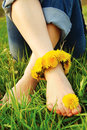 Feet of Young Woman on the Grass adorned with Dandelions Royalty Free Stock Photo