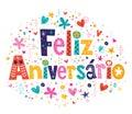 Feliz aniversario portuguese happy birthday kaart Stock Afbeeldingen