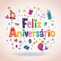 Feliz aniversario portuguese happy birthday karte Stockbild