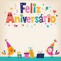 Feliz aniversario portuguese happy birthday kort Arkivfoton