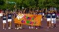 Feliz cinco de mayo young people celebrate with a parade Stock Image