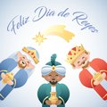 Feliz Dia de Reyes. Happy Day of Kings in Spanish. Cute illustration of the Three Kings or Three Wise Men and the falling star. Royalty Free Stock Photo
