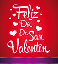 Feliz dia de san valentin happy valentines day spanish text vector lettering Stock Images