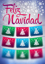 Feliz navidad blurred background merry christmas spanish text poster template Royalty Free Stock Photography