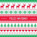 Feliz navidad card scandynavian christmas pattern winter red and green background for celebrating xmas nordic kntting style Royalty Free Stock Image