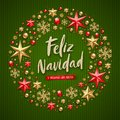 Feliz navidad - Christmas greetings in Spanish. Brush calligraphy holiday greeting and Christmas decoration