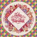 Feliz navidad. Greeting card in Spain. Xmas festive background. Colorful image.