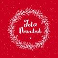 Feliz Navidad - Merry Christmas. Spanish Christmas Vector Card.