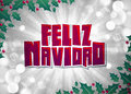 Feliz navidad merry christmas spanish text card poster Stock Image