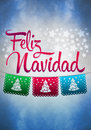 Feliz navidad merry christmas spanish text poster template Royalty Free Stock Photo