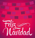 Feliz navidad merry christmas spanish text vector calligraphic lettering Royalty Free Stock Image