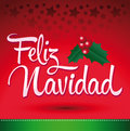 Feliz navidad merry christmas spanish text vector christmas card Royalty Free Stock Photos