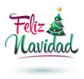 Feliz navidad merry christmas spanish text vector christmas tree Stock Image