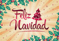 Feliz navidad merry christmas spanish text vector christmas tree Stock Photo