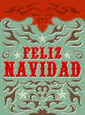 Feliz navidad merry christmas spanish text vector grunge effects can be easily removed Stock Images