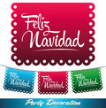 Feliz navidad mexican decoration merry christmas spanish text holiday vector Stock Photography
