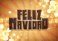 Feliz navidad vintage card merry christmas spanish text poster Royalty Free Stock Photography