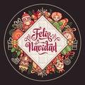 Feliz navidad. Xmas card on Spanish language.