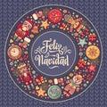 Feliz navidad. Xmas card on Spanish language. Warm wishes for happy holidays