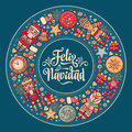 Feliz navidad. Xmas card on Spanish language. Warm wishes for happy holidays