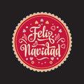 Feliz navidad. Xmas card. Spanish language