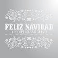 Feliz navidad y prospero ano nuevo merry christmas and happy new year spanish text card vector Royalty Free Stock Photography