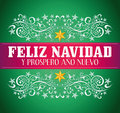 Feliz navidad y prospero ano nuevo merry christmas and happy new year spanish text card vector Stock Photo