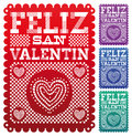 Feliz san valentin happy valentines day spanish text latin decoration vector set eps available Stock Photography