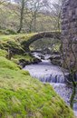 Fell end gill with old packhorse bridge under denthead viaduct north yorkshire national park Royalty Free Stock Images