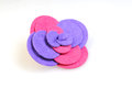 Felt brooch. Handmade stylish flower made felt  on a white Royalty Free Stock Photo