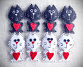 Felt cats funny from with red hearts Royalty Free Stock Photography