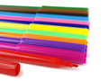 Felt pens row of on a white background Royalty Free Stock Image
