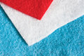 Felt swatch selection of red white and blue pieces Royalty Free Stock Photos