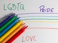 Felt tip pen rainbow on a notebook lgbtq pride love