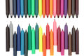 Felt tip pens coloured over white background Royalty Free Stock Photos