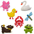 Felt toys animals crab dog dragonfly duckling frog pig swan Royalty Free Stock Photography