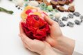 Felting activity felted flower in woman s hands Stock Photography