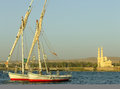 Felucca boats on the nile river bank aswan egypt Royalty Free Stock Image