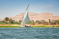 Felucca on the nile river in luxor egypt Royalty Free Stock Photo