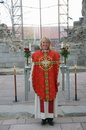 Femal minister in chasuble female church of norway wearing for pentacost the old dome of hamar Stock Photo