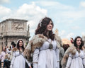 Female actors in rome celebration females parade celebrating the unification of italy Stock Photography