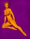 Female Acupuncture Model GF-POSE Bwc-v5-02-3, 3D Illustration