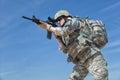 Female airborne united states paratrooper infantrymen in uniform Stock Photography