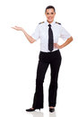 Female airline pilot attractive presenting on white Stock Photos