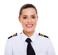 Female airline pilot pretty closeup portrait isolated on white Stock Photo
