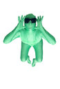 Female alien a young woman wearing a green body suit isolated on a white background with generous copyspace Stock Image