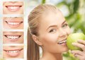Female with apple and smiles Royalty Free Stock Photo